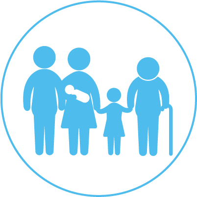 icon showing a family from a baby to a person with a cane